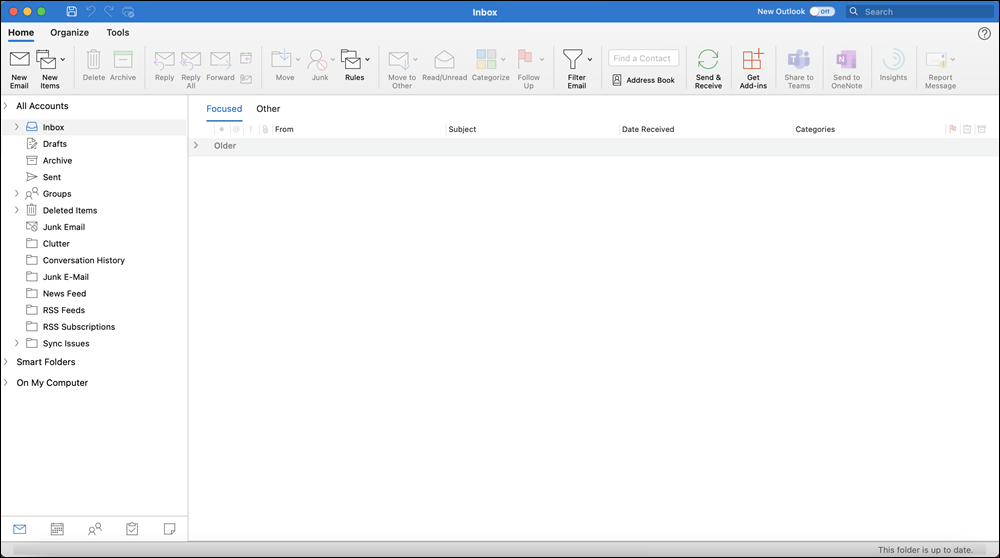Outlook 2021 for Mac window with Inbox displayed