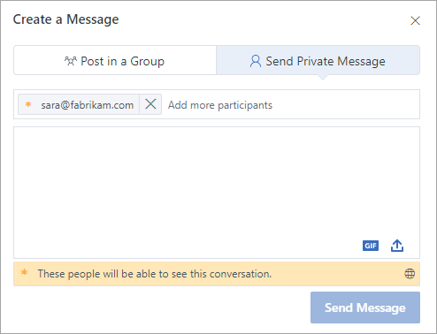 Add an external participant to a private message