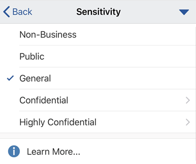 Sensitivity menu on iOS with sensitivity labels displayed