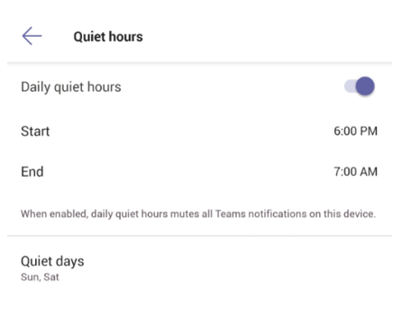 Image of Quiet hours settings in the Teams mobile app