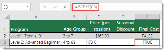 Use ISTEXT() to identify potential errors caused by non-numeric values - Formula in E3 is =ISTEXT(C3)