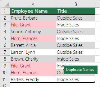 Conditional Formatting duplicate values highlighted