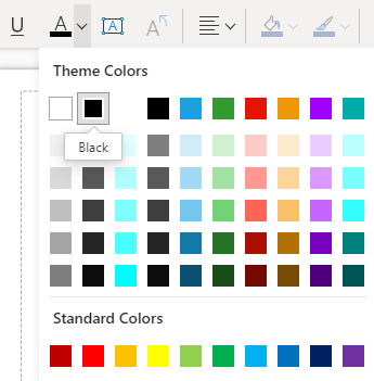 The Font color menu in Visio for the web