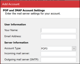 Enter your POP or IMAP server information