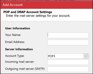 Enter your POP or IMAP server information