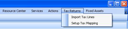 Tax Returns menu