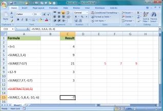 Entering some formulas in a worksheet
