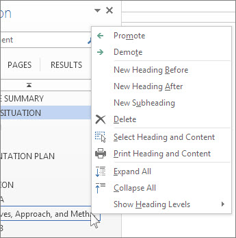 Right-click menu options for headings in the Navigation pane