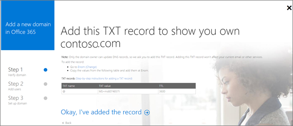 Add TXT record to verify you own the domain.