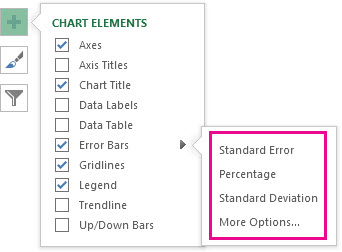Add, change, or remove error bars in a chart - Office Support