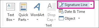 The Signature Line command on the Insert tab