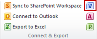 The Create Visio Diagram button in the Connect & Export group on the List tab