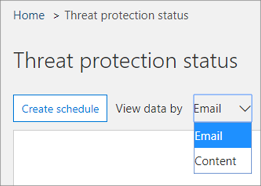 In the Threat Protection Status report, you can view data for email or content