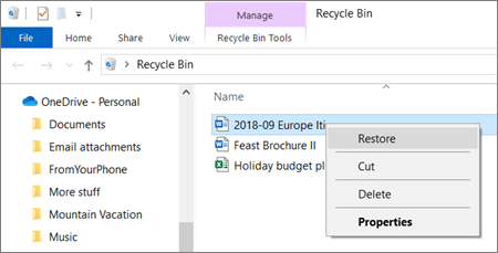 Right-click menu to recover a deleted file from Recycle Bin