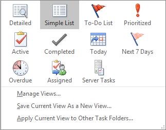 Current view options for tasks