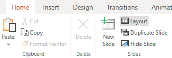 Layout button on the Home tab ribbon in PowerPoint Online.