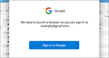 Dialog box from Google requestig user to sign in