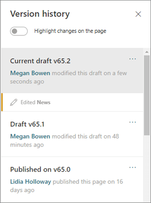 Version history pane