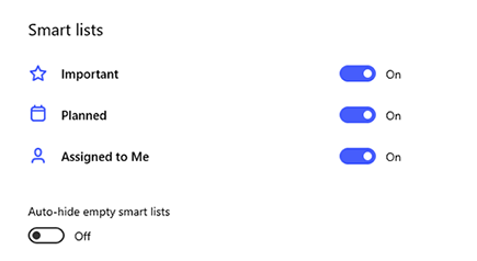 Screenshot of Smart lists in Settings with Important, Planned and Assigned to Me toggled on and Auto-hide empty smart lists toggled off.