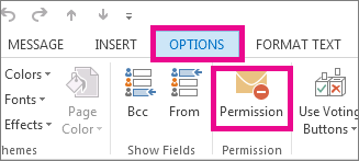 On the Options tab click Permissions