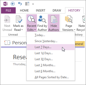View recent edits to see changes in your notebooks