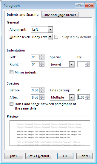 Screenshot of the Paragraph dialog box in Word, showing the Indents and Spacing tab.