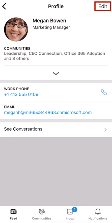 Screenshot showing an edited profile on the Yammer mobile app