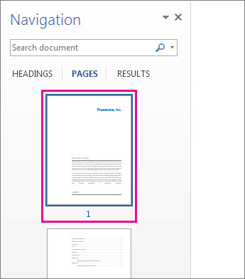 Thumbnails of pages from the Navigation pane