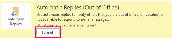 Screenshot of Outlook Turn Off Automatic Messages dialog box