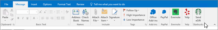 Screenshot of  the Outlook ribbon with the focus on the Message tab where the cursor points to add-ins at the far left side. In this example, the add-ins are Office Add-ins, PayPal, Evernote, Yelp, and Starbucks.
