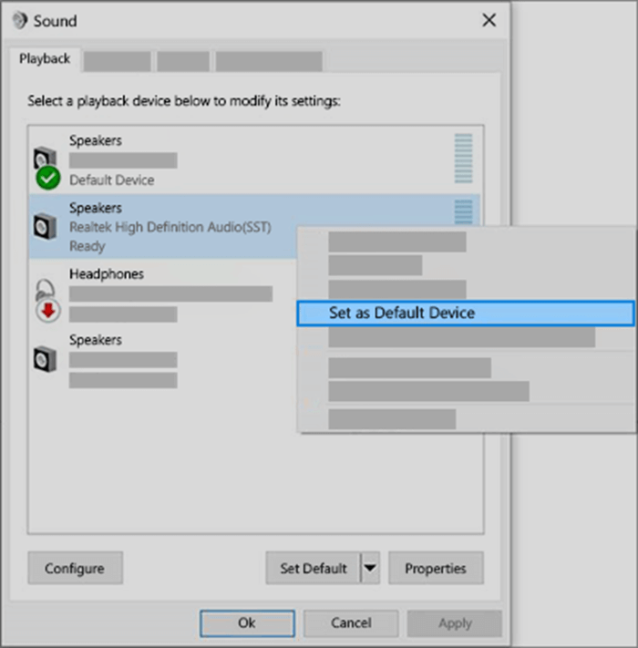 set your audio device as the default device
