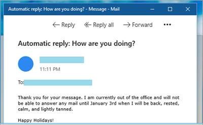Showing Out of Office message