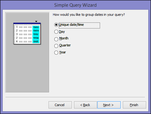 Select how you want to group dates in your query on the Simple Query Wizard dialog