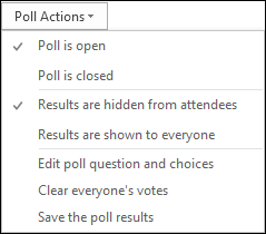 Screen shot of poll actions