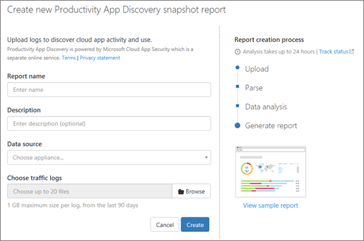 In O365 CAS, choose Discover > Create new report