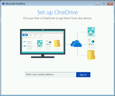 Screenshot of first screen of OneDrive setup in Windows 7
