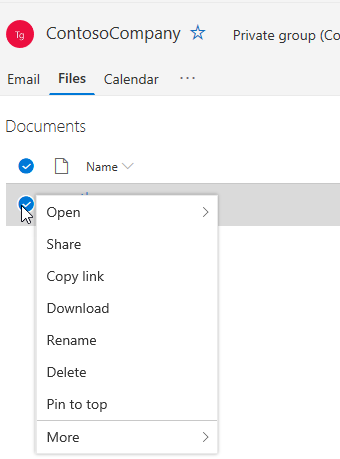 Showing Delete and Rename file options