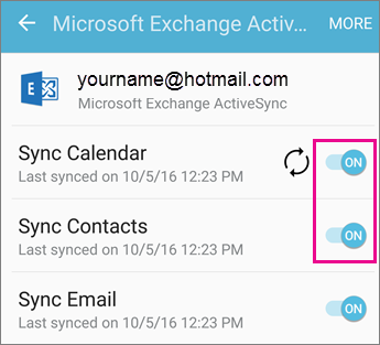 Can't sync calendar and contacts with my phone or tablet - Office