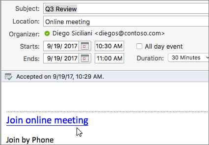 Screenshot of a meeting dialog, showing the Join online meeting link.