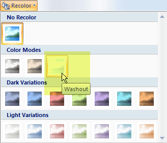 Select the Recolor button, and then, under Color Modes, select the Washout option
