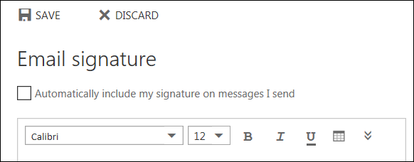 Outlook on the web Email signature message