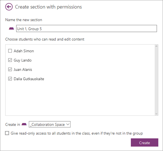 Collaboration Space permissions link within ManageCreate section with permissions dialogue with name of new section and students selected. Select Create.