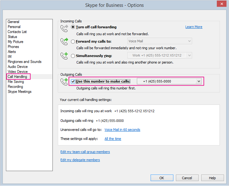 Set Options for using Skype for Business with your desk or another phone.