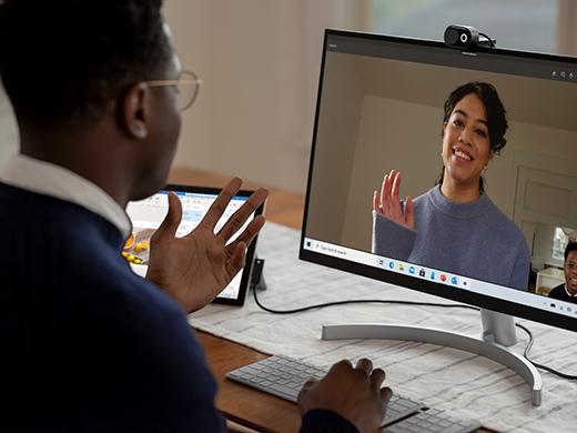 Microsoft Modern Webcam mounted on an external display