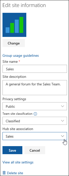 Associate a SharePoint site with a hub site