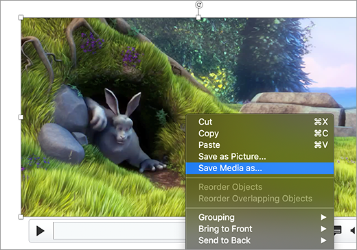 Slide containing an image and the Save as picture command selected in the shortcut menu