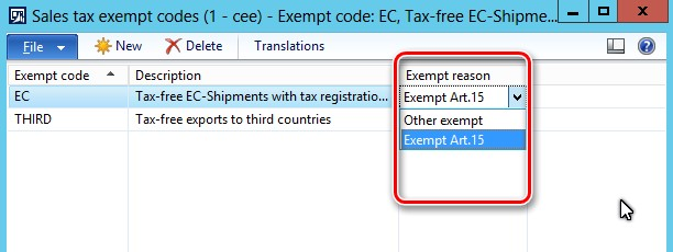 This image shows you to identify tax transactions which should be reported with different exemption reason.