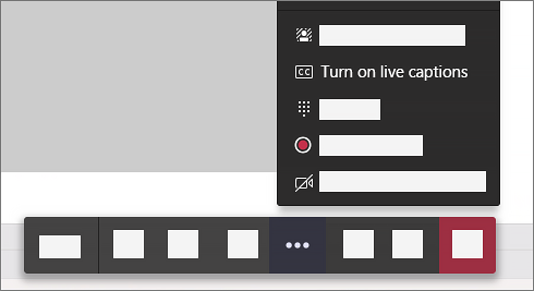 The option to turn live captions on in a meeting's call controls