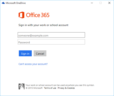 Screenshot of the sign in page for a work or school account