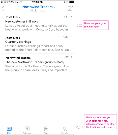 Conversation view of a group in the Outlook mobile app